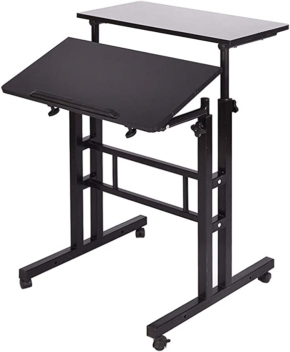 DlandHome Stand Sit Desk Mobile Computer Desk Adjustable Standing Desk 23.6 inches Table Workstation Mobile Desk Cart Tray Black 101-BK