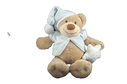 Kiabi – Doudou Nattou Kiabi oso chaqueta y gorro azul estrella blanca 27 cms – 7702