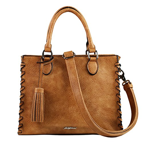 Boutique Purse (Concealed Carry Purse - YKK Locking Laced Ann Concealed Weapon Satchel by Lady Conceal (Cinnamon))