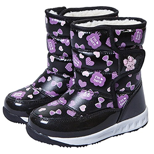 Thickened New Hiking Pattern Black Boot Inventory Snow Boot Printed Winter Anti Girls Boot Trip Boot Slip Winter Pointss Waterproof Short TxRStt