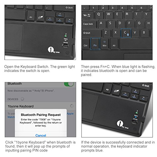 1byone Ultra-Slim Wireless Bluetooth Keyboard with Built-in Multi-touch Touchpad and Rechargeable Battery for Android and Windows, Black