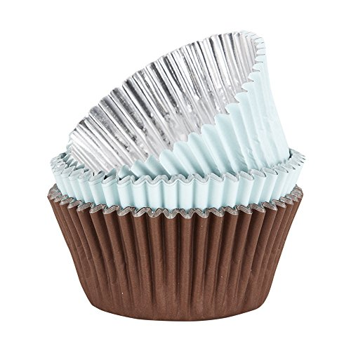 Sweet Creations 36 Count Stay Colorful Baking Cupcake Paper, Brown/Light Blue