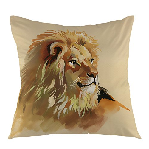 "oFloral Lion Decorative Throw Pillow Case Square Cotton Cushion Cover 18""X18"" Inch Yellow"