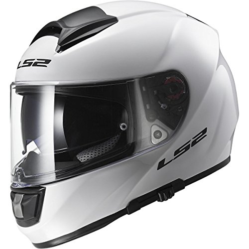 LS2 Helmets Citation Solid Full Face Motorcycle Helmet with Sunshield (White, XXX-Large)