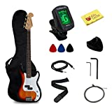 Stedman Pro Full Size Electric Bass Guitar with Gig Bag, Chromatic Tuner, Cable, Strap, Polishing Cloth and Pics - Sunburst
