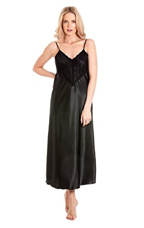 LO Ladies Long Satin Nightdress Nightie Deep Lace Plus Size ... bd3ab0852
