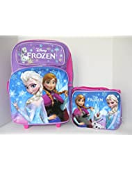 NEW! FROZEN Rolling Backpack & Lunch Box! ELSA & ANNA Back to School Set!