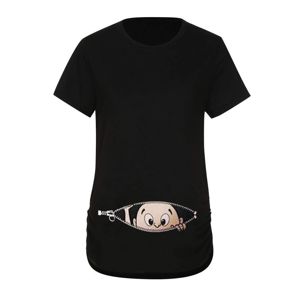 FALAIDUO Womens Maternity Print T-Shirt Pregnancy Blouse Baby in Pocket Funy Top Pregnant Cute Cartoon Print Maternity Dress Shirt