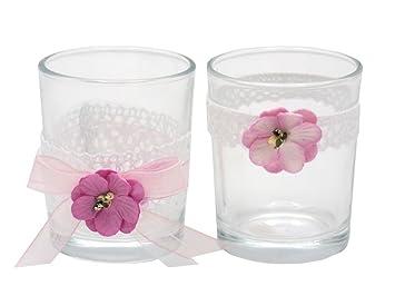 Zauberdeko 2x Teelichtglas Inga Vintage Hochzeit Spitze Rosa Pink