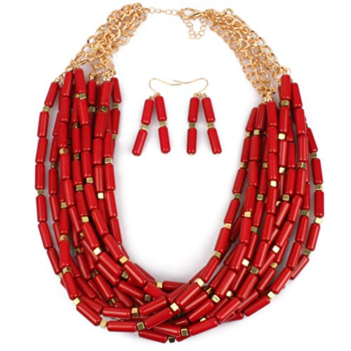 Thkmeet Red Beaded Cluster Multi-Layer Strand Chunky Statement Necklace Earring Women Bohemian Jewelry Set ()