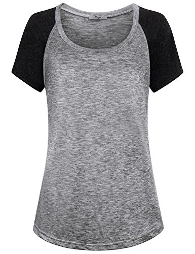 (Cestyle Workout Shirts for Women, Womens Summer Clothes Yoga Tops Youth Compression Shirt Short Sleeve Sports Soft Stretchy Scoop Neck Tee Quick Dry Form Fitting Tunic Grey Medium)