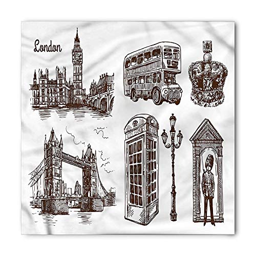 Sketchy Bandana, Popular London City Icons, Unisex Head and Neck Tie,39.339.3inch