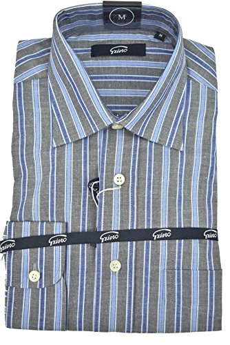 Grino Firenze Camicia Uomo Righe Larghe Grigio Azzurro Collo Francese