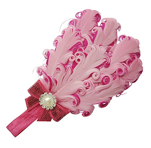 Heart Girls Pink Wig (Moleya Baby Girls' Hair Band Clip with Stretchy Headband & Feather)