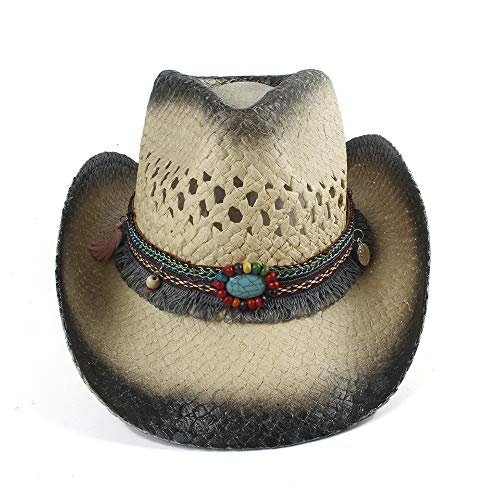Women Tassel Outback Straw Cowboy Hat Multicolor Band Shapeable Brim Funny Party Cap