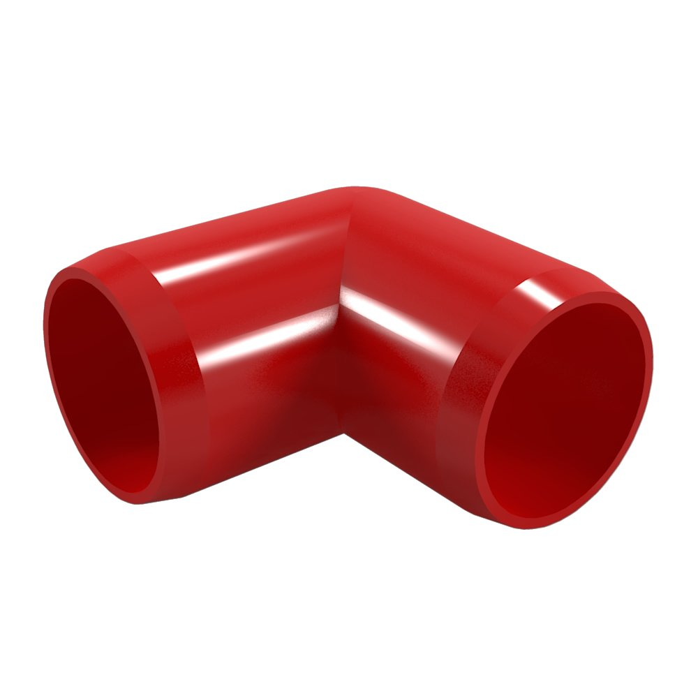 "FORMUFIT F00190E-RD-4 90 degree Elbow PVC Fitting, Furniture Grade, 1"" Size, Red (Pack of 4)"