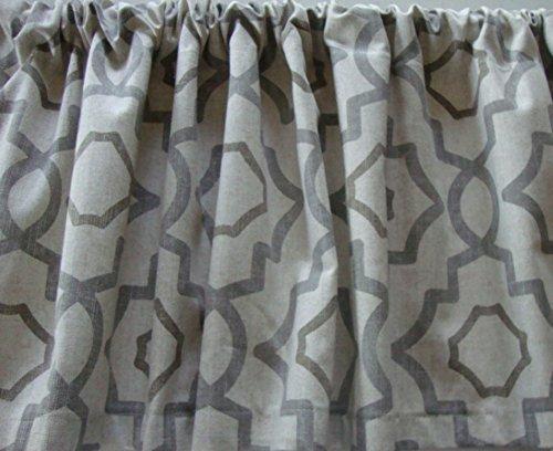 - Valance Gray Beige Cream Geometric Lattice Pattern Custom Made Window Treatment Decorator Fabric
