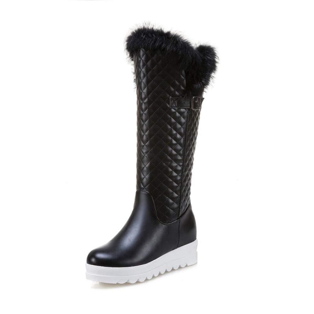 QINGMM Frauen Plattform Schneeschuhe 2018 Winter Winter Winter Plüsch Warme Baumwolle Stiefel Größe 33-44 Hohe Stiefel 006df0