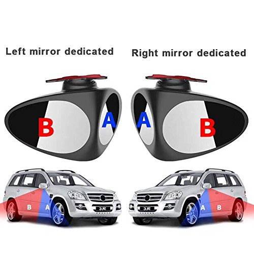 FANCYLEO 2 in 1 Car Blind Spot Mirror- 2 Pack 360 Degree Rotate Adjustable Stick-on Convex Rear View Mirror, View Front Wheel Car Coach Mirror For All Universal Vehicles Car Suv(Left and Right)