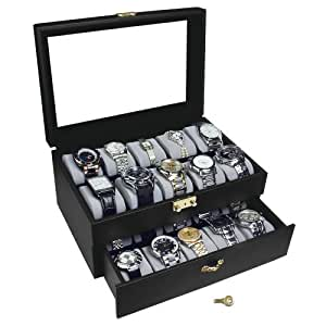 Ikee Design Watch Box Leatherette 20 Watch Organizer Display Case with Lock and Keys