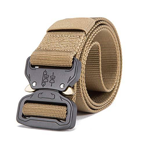 JUIHUGN Hot Mens Tactical Belt Military Nylon Belt Outdoor Multifunctional Training Belt Strap Ceintures Width 3.8 Khaki1 125cm
