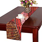 Jnseff Red Steel Rooftop Architecture Infrastructure Table Runner, Kitchen Dining Table Runner 16 X 72 Inch For Dinner Parties, Events, Decor