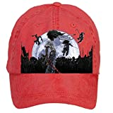 Jidlg Custom Washed Man Cotton Afro Samurai Moon Poster Adjustable Sun Hat Baseball Cap Red