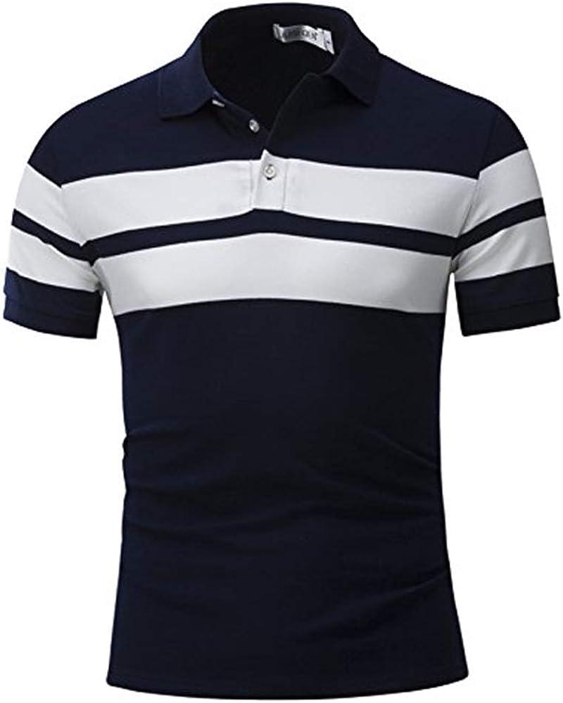 Polo Camisa Hombre Básico Verano Nueva Raya Camisa Ancha Algodón Slim Fit Polo Cómodo Ocio Solapa Camisa Polo Camisa Tops Oversize (Color : Azul, Size : M): Amazon.es: Ropa y accesorios
