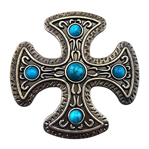 Cross Cool Belt Buckle - Lanxy Cool Western Cowboy Cross Celtic Turquoise Belt Buckle For Men Antique Gold Tone
