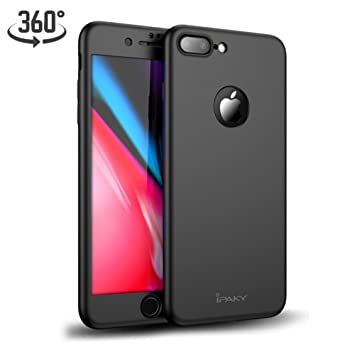 Funda iPhone 8 Plus 360 Grados Integral Carcasa + Cristal Templado, Ultra-Fina/Ultra-Slim Anti-Golpes Bumper Case Cover para Apple iPhone 8plus ...