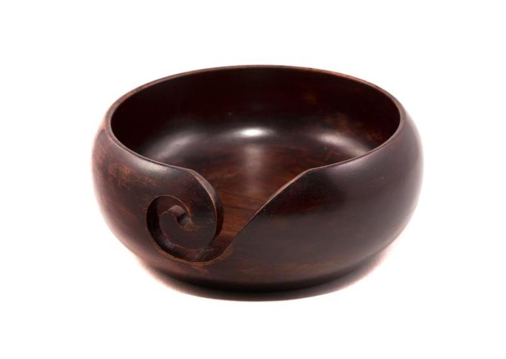 Darn Good Yarn Premium Handcrafted Knitting Yarn Bowl, Teakwood, 2.5 Inch x 5 Inch