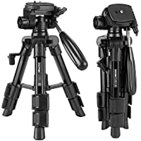 Zomei Q100 Mini Travel Tabletop Tripod with 3-Way Pan/Tilt Head 1/4 inches Quick Release Plate and Bag for DSLR Camera Mini Aluminum Tripod Carrying bag (Black)