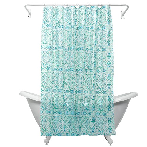 Zenna Home, India Ink Morocco Peva Shower Curtain Liner, Teal - Transparent Curtain Plastic