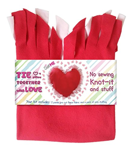DADM Heart Pillow Craft Kit, DIY Crafts Kits for Kids and Adults, Girls and Boys No sew Tie a pillow kit, Knot-it and Stuff, Precut fleece fabric and stuffing Selfme ()