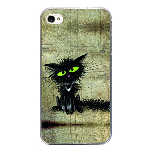 "Disagu Design Case Coque pour Apple iPhone 4s Housse etui coque pochette ""Schwarze Katze"""