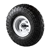 ALEKO WAP10 Pneumatic Replacement Wheel for Wheelbarrow Air Filled Turf Tire for Hand Trucks 10 Inches Black White Rim