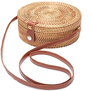Handwoven Round Rattan Bag Shoulder Leather Straps Natural Chic Hand Gyryp