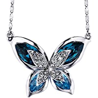 Sivery Christmas Day Gifts Butterfly Women Pendant Necklace