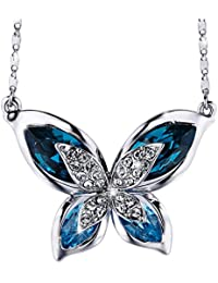 """SIVERY Valentine Day Gifts """"Butterfly"""" Women Pendant Necklace with Blue Swarovski Crystals, Jewelry for Mom Gifts for Women"""