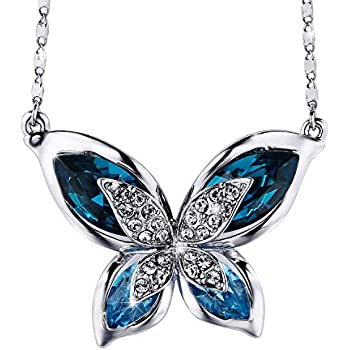 Sterling 925 Silver Enamel Red Or Blue Charm Long Butterfly Pendant Necklace Gift White Gold Jewelry for Women AFxlT91QN
