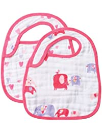 Muslin Bib Set, Pink Elephant, 2 Count