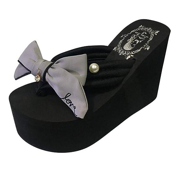 FRAUIT Casual Sandalias Perla Bowknot Porciones Sandalias Chanclas Zapatillas Zapatos De Playa Zapatilla Playa Mujer Sandalias De Vestir Mujer Verano: ...