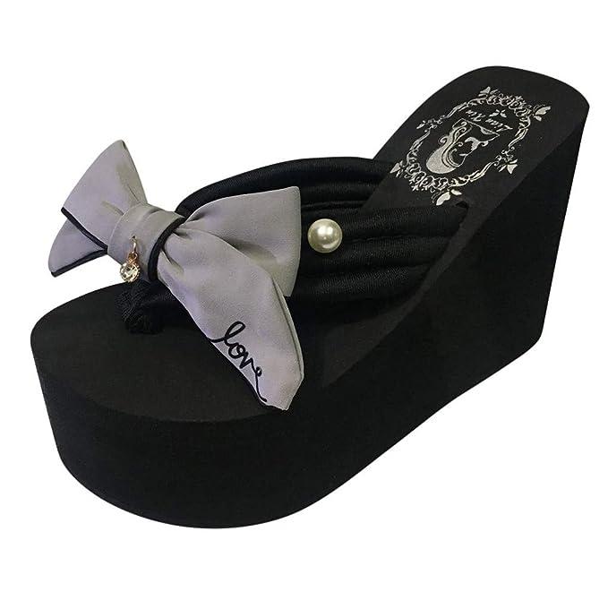 ef1b5ee79d2114 Scarpe Alti Sandali Floreale Sandali Infradito Scarpe Basse Aperte  Impermeabile Con Zeppa Sandali Bohemian Pantofole Pantofole Bowknot Cunei  Infradito ...