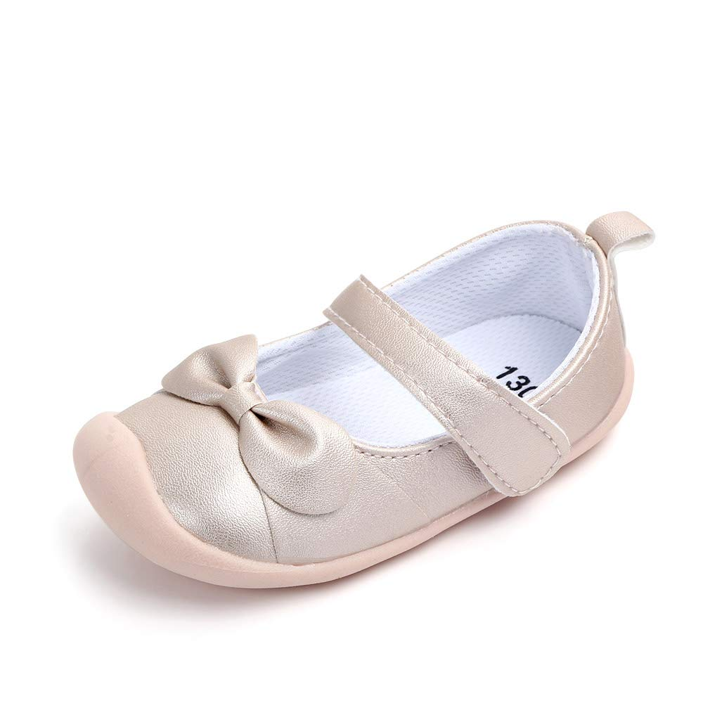 a57b1ab3519a7 Kuner Baby Girls Pu Leather Embroidered Soft Bottom Non-Slip Princess Shoes  First Walkers Shoes