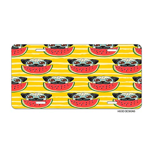 HGOD DESIGNS Pug License Plate,Funny Pug Dog in Sunglasses Eating Watermelon License Plate Decorative Front Plate Car Tag 6