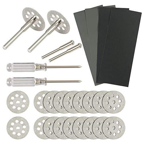20 PCS Diamond Cutting Wheel KAKOO Cut Off Discs Rotary Tool Cutting Blades with 4 PCS Mandrel 2 PCS Screwdriver and 4 Sheets Sandpaper for Wood Plastic Glass ()
