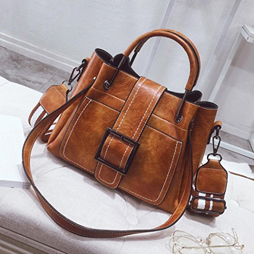 YJYDADA Retro Women's Leather Shoulder Bags With Corssbody Bag&Handbag (Brown) from YJYDADA