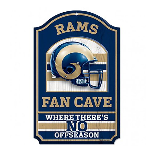 Wood St Louis Rams Football (NFL St. Louis Rams 11-by-17 inch Fan Cave No Offseason Wood Sign)