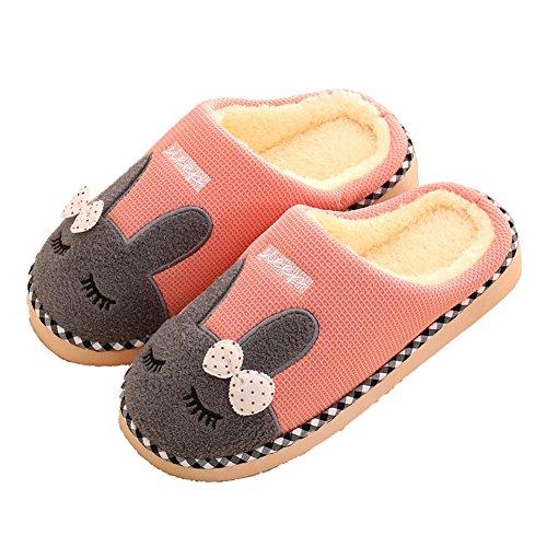 Donykarry Damen Plüsch Hausschuhe Mädchen Warmer Weicher Pantoffeln Kuschelige Cartoon Kaninchen Slipper (36/37, Pink)