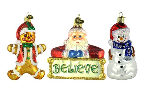 Old World Christmas Gingerbread Boy Ornament Bundled with Believe Santa Glass Ornament and Happy Snowman Ornament
